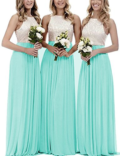 Dresses Formal Turquoise Gowns Cdress Long Maxi Gowns Wedding Chiffon Bridesmaid Lace Bodice Evening vvw6Bq7t