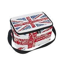 Saobao - Bolsa de almuerzo con aislamiento reutilizable, bandera de Inglaterra con correa para el hombro para el trabajo escolar, oficina, viajes, al aire última intervensión