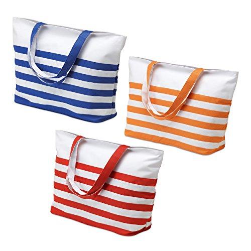 Mid Ocean Brands fantastische Sommer Strand-Tasche, gestreift, Blau/Rot/Orange/Weiß,, Blau