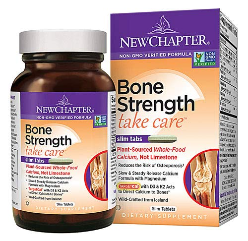 New Chapter Calcium Supplement with Vitamin K2 + D3 - Bone Strength Clinical Strength Plant Calcium with Vitamin D3 + Magnesium - 270 ct Slim Tabs (2 Bottles)
