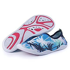 Water Shoes Mens Womens Beach Swim Shoes Quick-Dry Aqua Socks Pool Shoes for Surf Yoga Water Aerobics Coconut Trees 7.5 B(M) US Women / 6.5 D(M) US Men