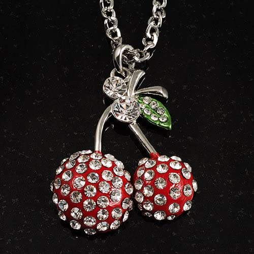 Avalaya Long Double Cherry Crystal Pendant Red
