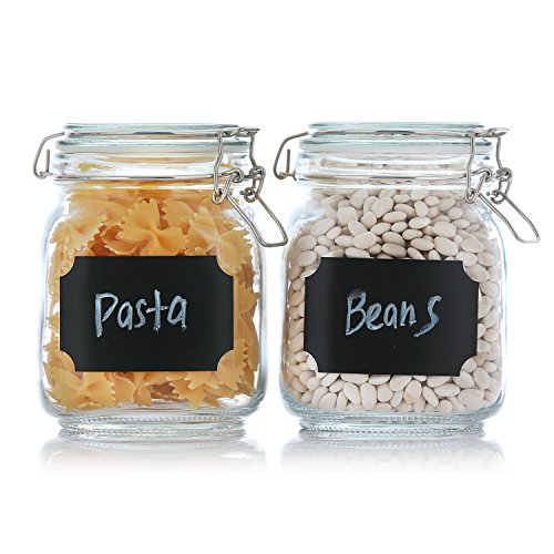 Set of 2 Clear Airtight Canister Set with Chalkboard Labels & Pen, Glass Jars for Cereal, Flour, Pantry Storage Jars, 33.75 Ounce Capacity, by California Home Goods