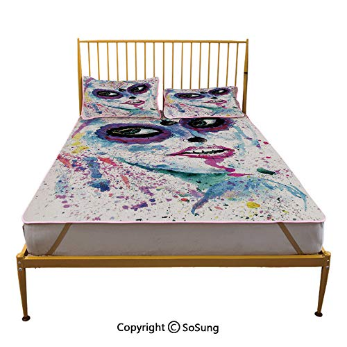 Girls Creative Queen Size Summer Cool Mat,Grunge Halloween Lady with Sugar Skull Make Up Creepy Dead Face Gothic Woman Artsy Sleeping & Play Cool Mat,Blue Purple]()