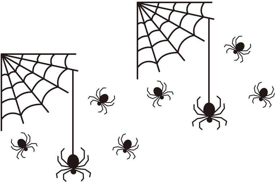 VORCOOL 2PCS Horror Spiders and Web Wall Stickers, PVC Sticker Art Decal Decor for Halloween Party