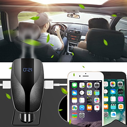 Car Charger Adapter, Ionic Air Purifier and Essential Oil Diffuser for Car, Dual Usb Port Fast Car Charger , Remove Smoke, Bad Smell and Odors (Black)