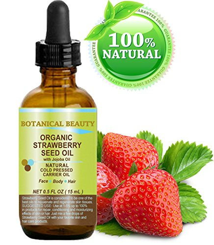 (STRAWBERRY SEED OIL ORGANIC. 100% Pure Moisturizer/ Natural Cold Pressed Carrier oil. 0.5 Fl.oz.- 15 ml. For Skin, Hair, Lip and Nail Care.