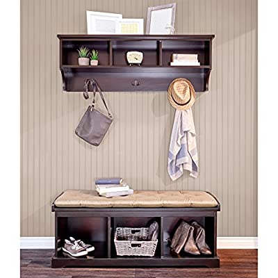 Epoch Design Brookwood Bench and Wall Unit, Coffee - Constructed of New Zealand Radiata wood, with rich mahogany-walnut stain finish Bench includes three storage bays, and shelf includes three pre-installed bronze-finished coat hooks Bench seat features Dacron wrapped and tufted poly-foam bench pad - entryway-furniture-decor, entryway-laundry-room, benches - 51gIfN9AgOL. SS400  -