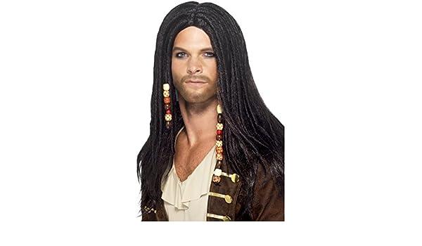 Piratas de la peluca de la peluca de pirata con rastas y cuentas con diseño de carnaval de la peluca rastas peluca de pelo largo pirata Jack Sparrow de la ...