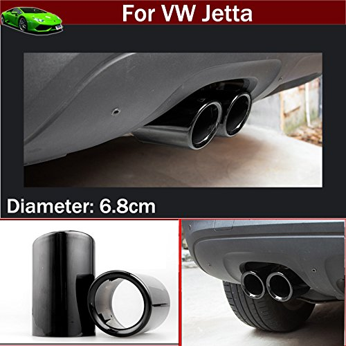 OEM 2pcs Black Color Stainless Steel Exhaust Muffler Rear Tail Pipe Tip Tailpipe Extension Pipes Custom Fit For VW Jetta 2012 2013 2014 2015 2016 2017 2018 TianTian Auto Part Co. Ltd