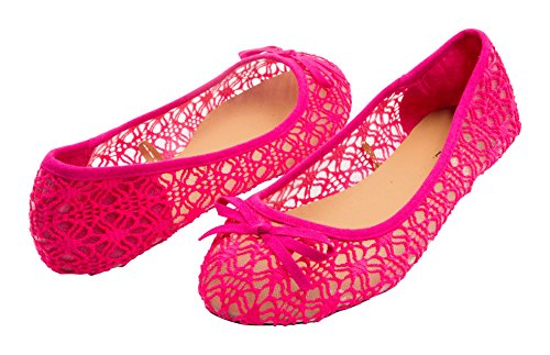 Sara Z Womens Mesh & Lace Openwork Crochet Slip On Ballet Flat with Bow Fuchsia Size 7-8