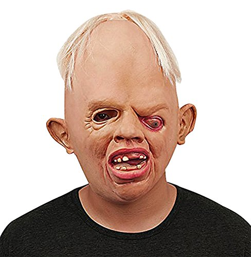 Maze Sad Looking White Haired Grotesque Villain Full Face Scary Latex Mask, 1- One -