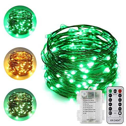 (ErChen Dual-Color Battery Operated Led String Lights (Warm White/Green), 33 FT 100 LEDs Color Changing Silvery Copper Wire Dimmable Fairy Light with Remote Timer for Indoor/Outdoor Christmas)