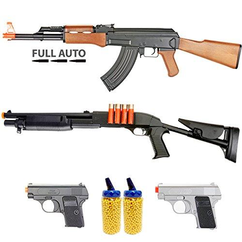 Mini Electric Airsoft Machine Gun - BBTac Milita Collection Airsoft Gun Package (6-Items)