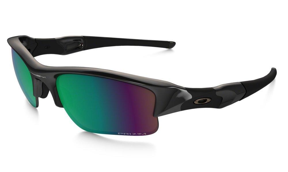 Oakley Men's Flak Jacket XLJ Polarized Rectangular Sunglasses, Polished Black & Prizm Shallow Water, 63 mm by Oakley