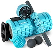 EletecPro 6-1 Foam Roller Kit with Muscle Roller Stick, Stretching Strap, Two Massage Balls,Free Portable Bag