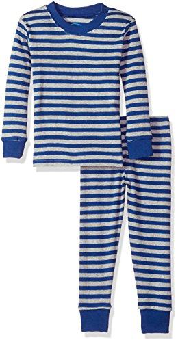 Sara's Prints Little Kids All Cotton Long John Pajamas, Grey Navy Stripe/Sign, (Stripe Long Johns)