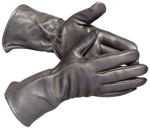 Traditional Deerskin Black Leather Unlined Gauntlet Glove Swordsman - LeatherBull(Free U.S. Shipping)