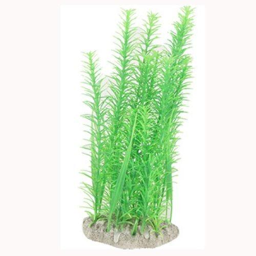 DealMux Plastic Fish Tank Short Leaf Design Plants, 10-inch Height, Green