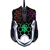 ENHANCE GX-M4 6 Button Gaming Mouse with 7 LED Cyling Colors - Adjustable 2400 DPI, Braided Cable, Optical Sensor - Great for PUBG, League of Legends, More