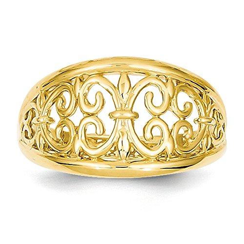 - Lex & Lu 14k Yellow Gold Fleur-De-Lis Tapered Ring