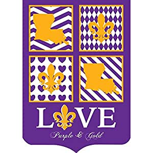 Louisiana love morado y dorado 42 x 29 Shield forma doble Applique casa grande bandera