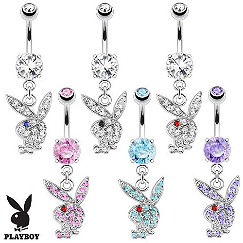 Playboy Bunny Merchandise (Pink Paved Gem Playboy Bunny with Red Gem Eye Dangle 316L Surgical Steel Navel Ring)