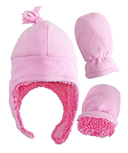 (N'Ice Caps Little Girls and Baby Soft Sherpa Lined Micro Fleece Pilot Hat and Mitten Set (Pink Infant 1, 3-6)