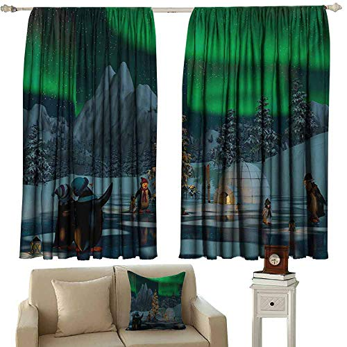 DuckBaby Decor Curtains Aurora Borealis Penguins on Frozen Lake with Christmas Tree Noel Arctic Circle Design Thermal Insulated Tie Up Curtain W63 xL72 Lime Green Grey