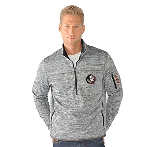 NCAA Florida State Seminoles Men's Fast Pace Half Zip Pullover Jacket, Medium, Heather Grey - Florida State Fleece Fabric
