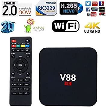 V88 4K Android 6.0 Smart TV Box RK3229 Quad Core 8 GB HD 1080P WiFi Media: Amazon.es: Electrónica