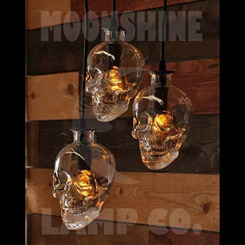 Glass Skull Bottle 3 Light Pendant Chandelier with Customizable Finish and Edison Bulbs - Spooky Halloween Decor - Day of the Dead Decor]()