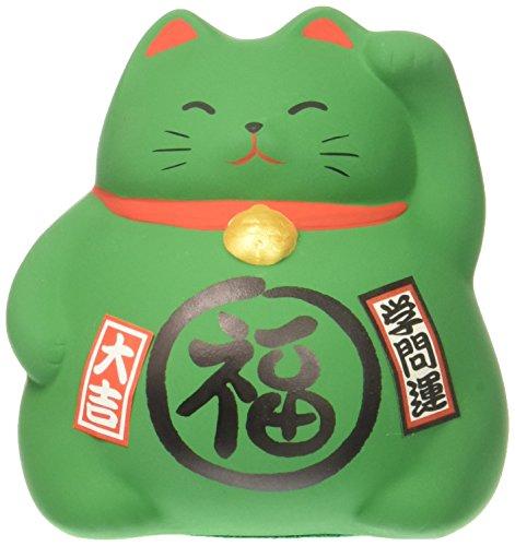 JapanBargain 1615, Japanese Ceramic Maneki Neko Feng Shui Fortune Lucky Cat Coin Bank Collectible Figurine Made in Japan, Academic Achievement, Green