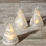 Lillian Vernon LED Lighted Glass Angels - Set of 3 Christmas Angels