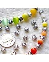 Beading Station 50-Piece Sweet Heart Spacer Metal Beads, 6mm, Tibetan Silver