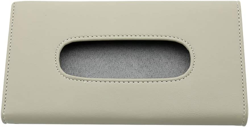 visera de sol servilleta de papel beige Kuizhiren1 caja de almacenamiento para pa/ñuelos de papel Beige piel sint/ética para coche caja de pa/ñuelos 23 x 13 cm