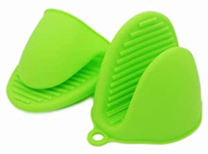 ALAZCO Green Mini Oven Mitts 1 Pair (2pcs), Heat Resistant Pinch Mitt Gloves Potholder for Kitchen Cooking & Baking - Food-Grade Silicone