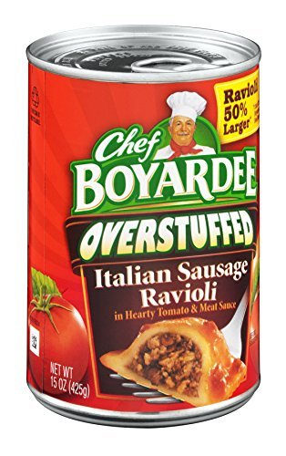 Chef Boyardee, Big Overstuffed Italian Sausage Ravioli, 15oz Can (Pack of 6)