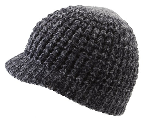 Icebox Knitting Super Soft Visor Winter Hat, Large, Coal