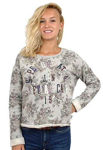Superdry Damen Pailletten Floral Crop Top Grau Marl