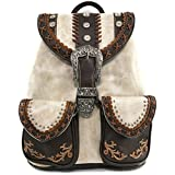 Justin West Trendy Western Rhinestone Leather Conceal Carry Top Handle Backpack Purse (Western Beige)