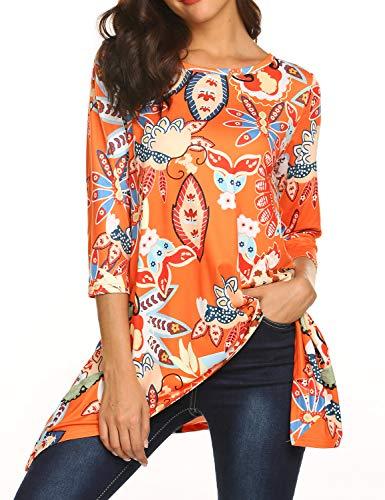 Sweetnight Womens 3/4 Sleeve Floral Print Irregular Hem Tunic Tops Casual Loose Fit Asymmetrical Shirt Blouse (Orange, M) - Orange Floral Tunic