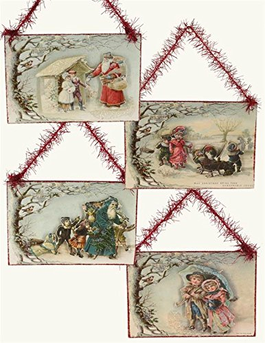 Victorian Postcard Print Out in the Snow Christmas Ornaments (Set of 4)