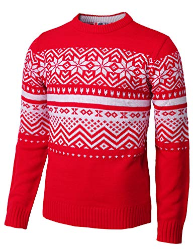 Red Snowflake Holiday Sweater - H2H Mens Casual Snowflake Patterned Christmas Pullover Sweater RED US M/Asia L (CMOSWL035)