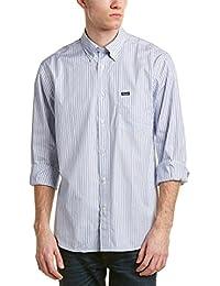 Faconnable Mens Woven Shirt, M, Blue