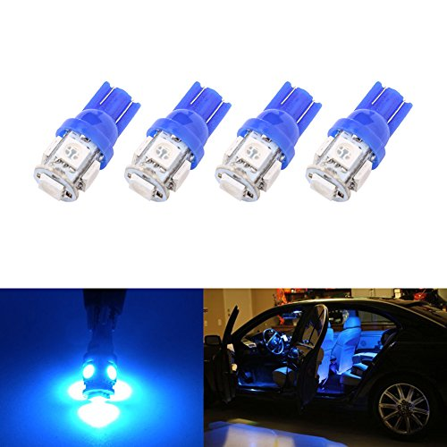 194 T10 W5W 5SMD 5050 Trisense 12v LED Light Bulb Blue 2825 158 192 168 for Car/Motor Interior Dome Light Parking Side Turn Signal Dashboard Light License Number Plate Light Lamp (pack of 4)