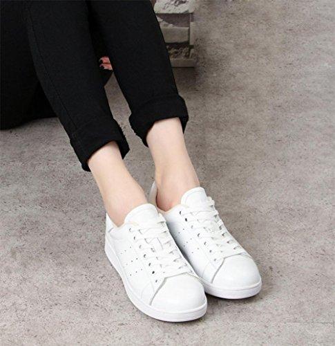 fond Mme chaussures épais à chaussures printemps d'ascenseur White et chaussures l'automne dentelle Mme chaussures rondes plates étudiants chaussures 6OZ6q