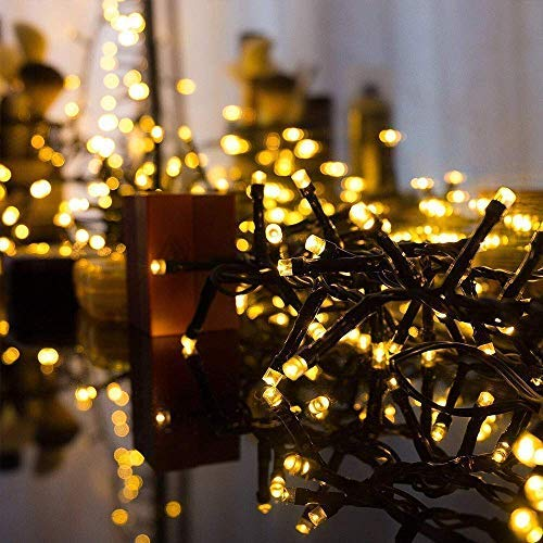 CREASHINE Outdoor String Lights 360 LED, End-to-End Plug 8 Modes Christmas Lights - UL Certified - Indoor Fairy Curtain Lights,Christmas Tree LED, Warm White -