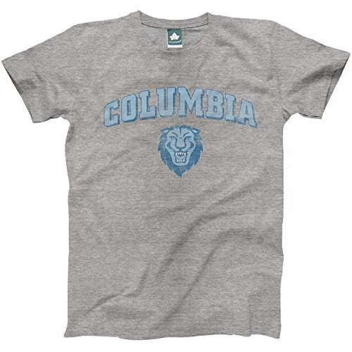 Columbia University T-Shirt by Ivysport – Team Vintage Logo, 100% Cotton, Heather Grey, Short Sleeve T-Shirt