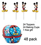 Toy Explorer Party Combo w/24 Mickey Mouse Cupcake Topper & 24 Cupcake Liners with 1 FREE Glow Bracelet -The Toy Explorer Brand